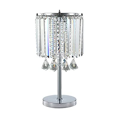 Hsyile Lighting KU300191 Modern Elegance Crystal Chandelier for Bedroom Nightstand Table Lamp,Finish Chrome,2 Light
