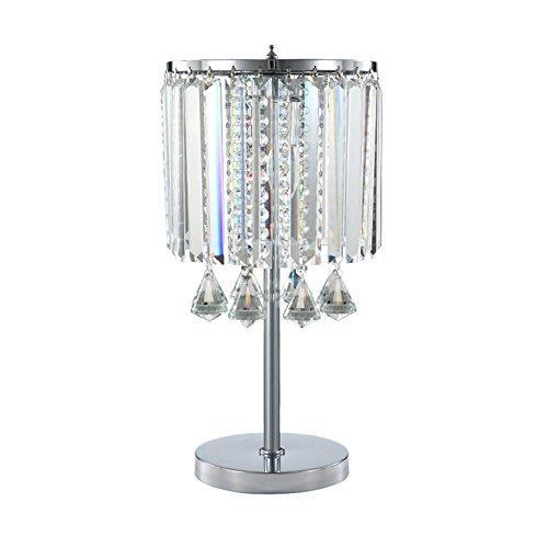 Hsyile Lighting KU300191 Modern Elegance Crystal Chandelier for Bedroom Nightstand Table Lamp,Finish Chrome,2 Light