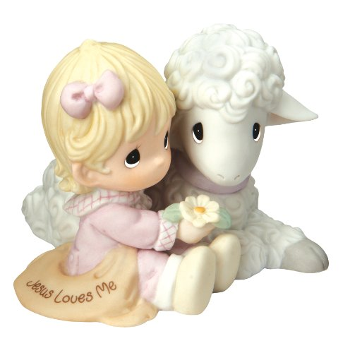 Precious Moments, Religious Gifts, Jesus Loves Me , Girl, Bisque Porcelain Figurine, 102012