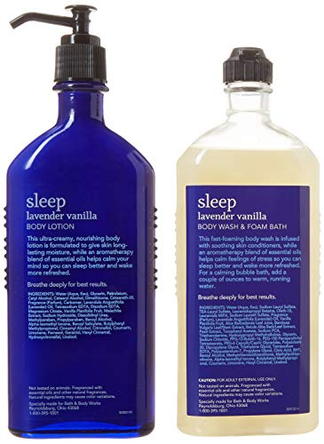 Bath and Body Works Aromatherapy Village Carrier Sleep – Lavender Vanilla Body Lotion and Body Wash Foam Gift Set