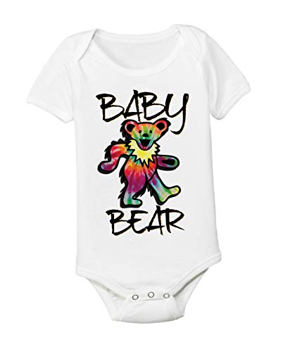 Grateful Dead Unisex Baby Bear 3-6 Months Onesie Bodysuit Tie Dye Dancing Bear Toddler Kids Tee