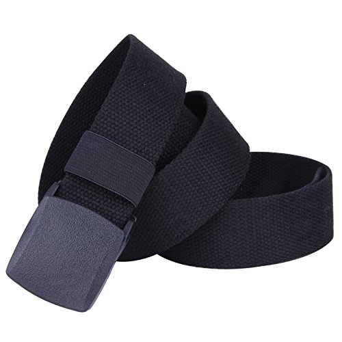 ROFIFY Canvas Web Belt Military Style with Flip-Top Black Plastic Buckle 50