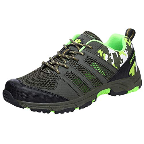 HomeMals Leisure Mens Shoes On Foot Flat Running Comfortable Breathable Sneakers(Army Green,43)