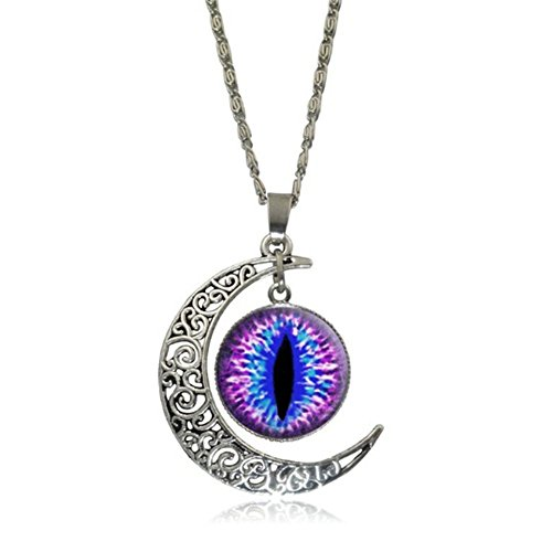 Elakaka Moon Time Gemstone Retro Eye Pupils Pendant Sweater Necklace?.. - Diy Softball Player Costume