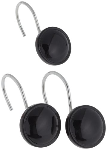 Carnation Home Fashions Color Rounds Ceramic Resin Shower Curtain Hook, Set of 12, Black