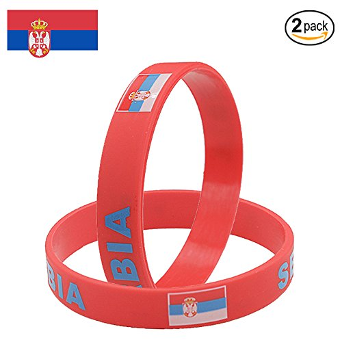 IDL World Cup Silicone Wristband, 2018 Russian World Cup Sports, Flag Bracelet | 2-Piece Set | 32 Countries Available | Unisex Design, Soft and Durable Wristbands, Non-Toxic (Serbia)