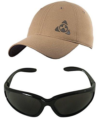Magpul Core Cover Tactical Mesh Ballcap Hat Cap MAG729 Coyote Tan, Small/Medium + Ultimate Arms Gear Black Lens Military Sunglasses Eyeglass Shooting - With Custom Uv Logo 400 Sunglasses