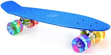 Merkapa 22 Complete Skateboard with Colorful LED Light Up Wheels for Beginners