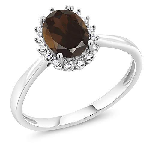 Gem Stone King 1.20 Ct Oval Brown Smoky Quartz 10K White Gold Ring (Size - Ring 10k Quartz