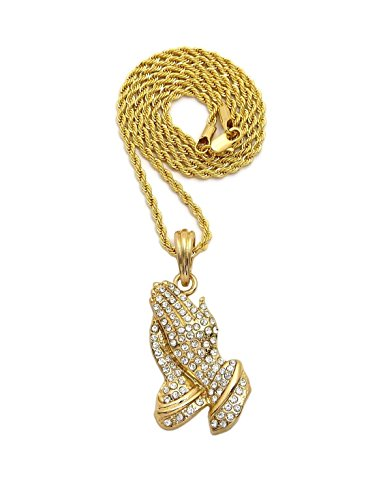 Praying Prayer Box Hands (MENS ICED OUT GOLD SILVER MICRO PRAYER HANDS PENDANT ROPE, BOX, CUBAN CHAIN 18