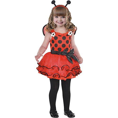 Toddler Girls Red Little Lady Bug Costume -- Tutu Dress Wings Headband (2T)