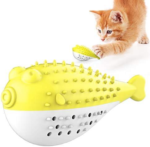 新しい猫用おもちゃ またたびトイ ペットのおもちゃ ミント人工魚 ペット用品 猫歯ブラシ かみ傷に強い きれいな歯 ねこおもちゃ ストレス解消 運動不足の解消 (イエロー)