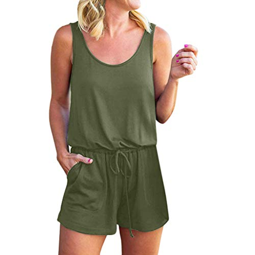 TOTOD Rompers for Women, Summer Loose Scoop Neck Sleeveless Tank Top Drawstring Short Jumpsuit Green