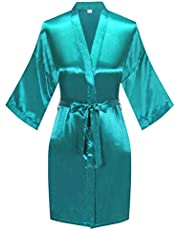 Women's Pure Color Satin Kimono Robe Short Bridesmaids Robe Dressing Gown