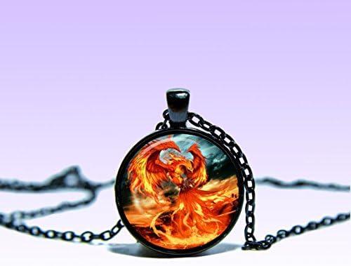 R/étro fait /à la main Phoenix Feng Shui Pendentif de lave Bijoux Charm pendentif