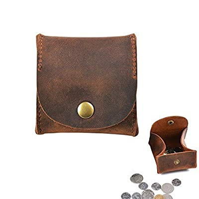 Juland Rustic Leather Moon Pocket Coin Case Genuine Leather Squeeze Coin Purse Pouch Change Holder Tray Purse Wallet for Men & Women - Brown