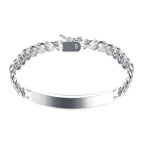 Gnzoe Women Men Wedding Bracelet Bangle Stainless Steel Identification Tag Silver Length 8.4 (Rasta Costume Nz)