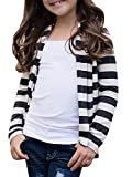 KunLunMen Kids Clothes Girls Fall Cardigans Casual Striped Long Sleeve Outerwear Tops 9-10 Years