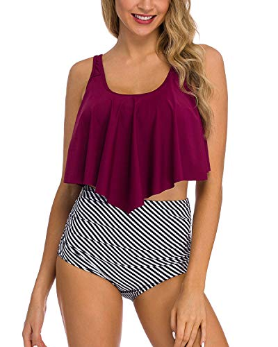 Coskaka Women's High Neck Two Piece Bathing Suits Top Ruffled High Waist Swimsuit Tankini Bikini Sets Wine Red-Stripe XS