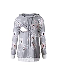 TheRang Women Maternity Clothes Nursing Pullover Hoodie Breastfeeding Tunic Top Blouses