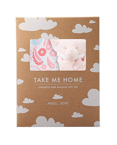 Angel Paisley (Angel Dear Swaddle and Blankie Gift Set, Elephant Paisley with Pink Elephant)