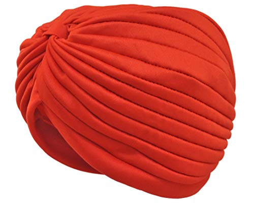Jacobson Hat Company Vintage Look Turban Spandex Pleated Gypsy Costume Accessory Red ()