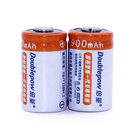 Ensemble CR2 3V 900MAH au Lithium pour cam/éra VCB Batterie Double capacit/é 2pcs Blanc et Orange