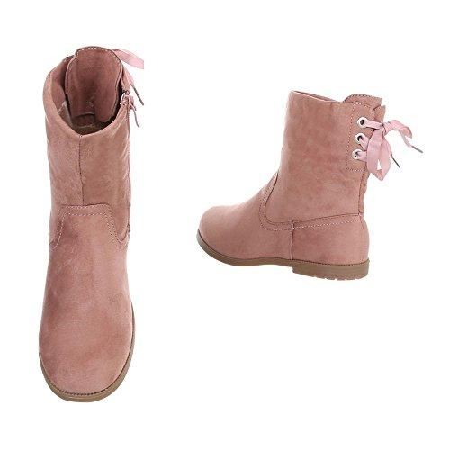 Stiefel & Boots Kinderschuhe Klassischer Stiefel Blockabsatz Mädchen Reißverschluss Ital-Design Stiefeletten Altrosa