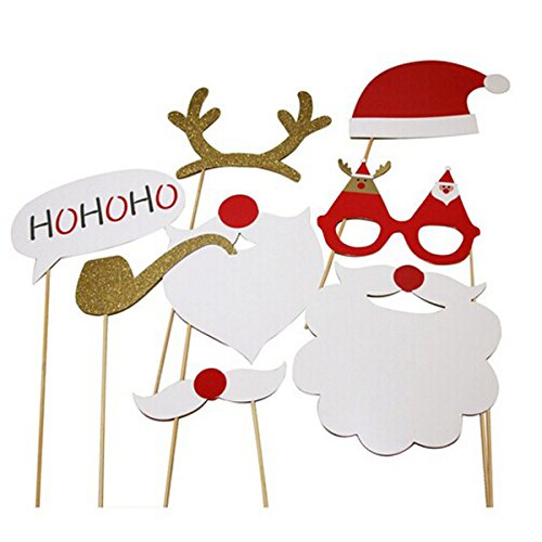 ROSENICE Photo Booth Props Glasses Moustache Deer Horn Santa Hat for Christmas 8 Pack]()