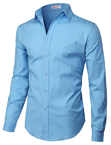 H2H Mens Casual Slim Fit Button Down Spandex Premium Long Sleeve Shirts Blue US S/Asia M (CMTSTL0134)