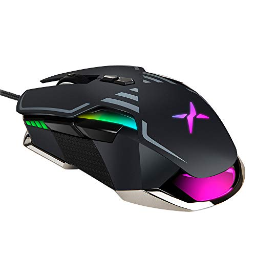 DELUX Gaming Mouse Wired, Ergonomic USB Computer Mouse Ambidextrous Gamer Optical Mice with Chroma RGB, Adjustable True 16000DPI, 9 Programmable Buttons and 15g Removable Weights (M628BU(3389)-Black) ()
