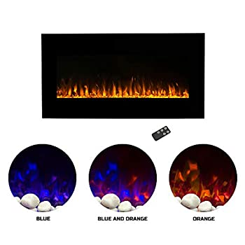Image of Home and Kitchen Northwest Electric Fireplace Wall Mounted LED Fire and Ice Flame, with Remote, 36', Black