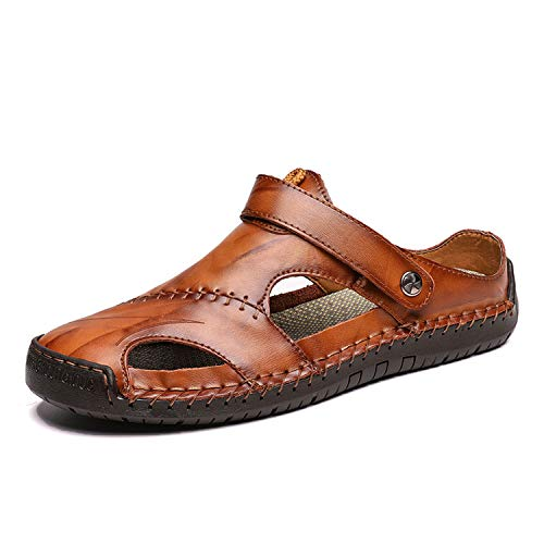 New Casual Men Soft Sandals Comfortable Summer Leather Roman Outdoor Beach Sandals,Dark Brown,12