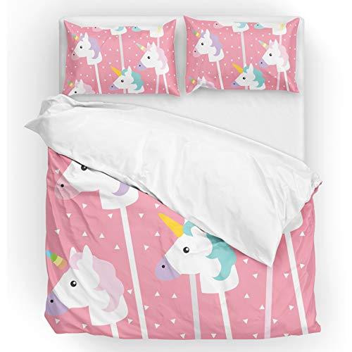 - U LIFE Bedding Duvet Cover Set Queen Size 3 Piece Set 1 Quilt Cover and 2 Pillow Cases Shams Pink Cute Unicorn Animal for Kid Boy Girl Women Men
