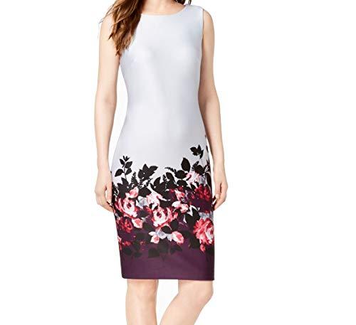 Calvin Klein Women's Dress Petite Sheath Border-Print Gray 12P
