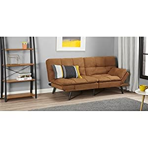 Mainstay* Wooden frame Memory Foam Split seat and back Futon in Camel Fabric