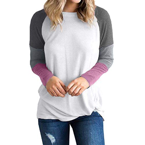 Tsmile Womens Long Sleeve Shirts Color Block Patchwork Pullover Loose Casual Tops Autumn Holiday Sweatshirt Blouse Gray