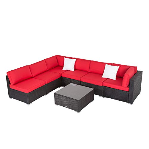 (Kinbor 7PC Outdoor Sectional Sofa Set Rattan Wicker Patio Xmas Party Furniture Sofa with Washable Cushions & Modern Coffee Table Glass Top (Red))