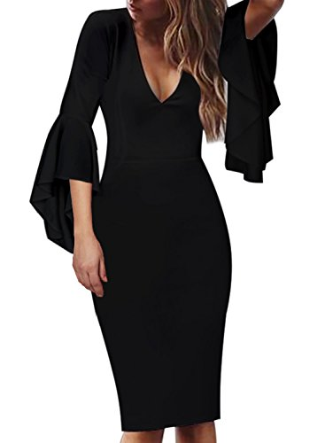 VFSHOW Womens Deep V Neck Ruffle Bell Sleeve Cocktail Party Sheath Pencil Dress 2281 BLK XS