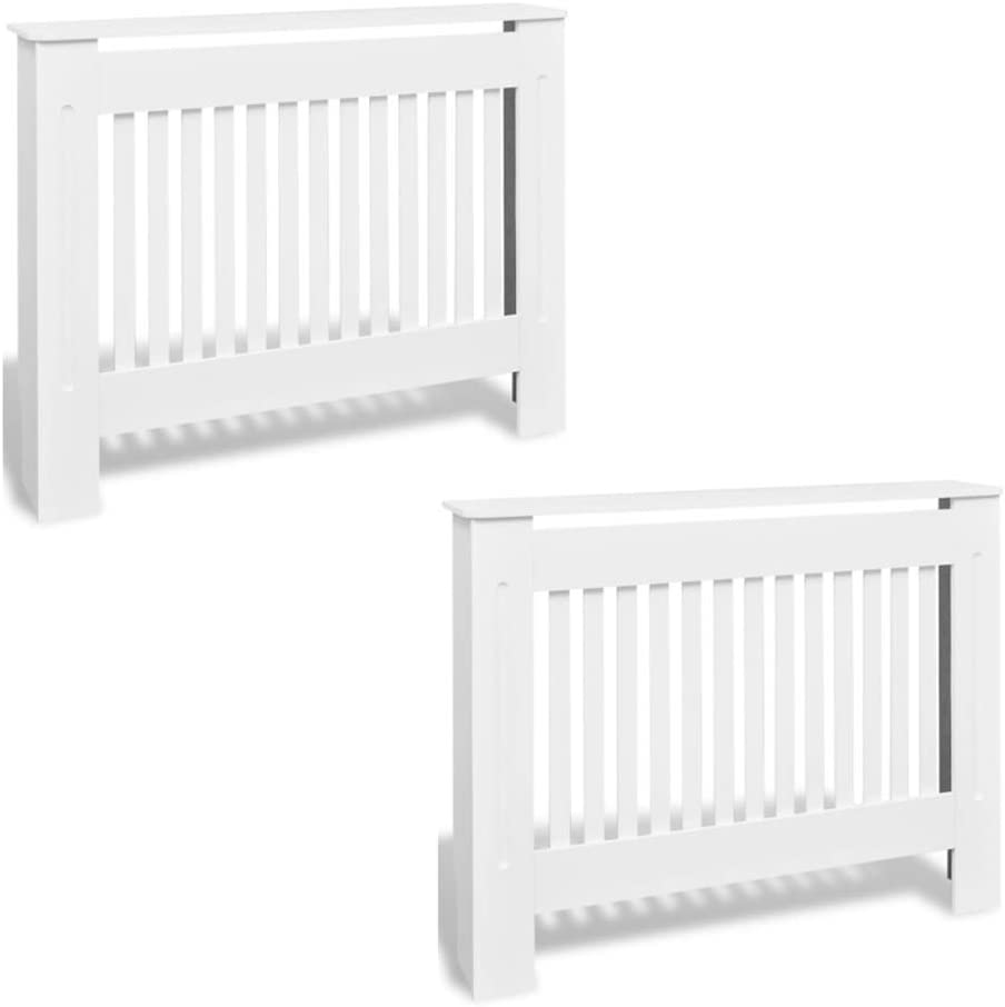 """Nishore Pack of 2 MDF Radiator Cover Heating Cabinet with a Matte Design Modern White 44.1"""" x 7.48"""" x 31.9"""" (L x W x H)"""