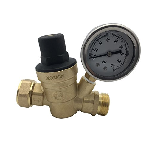 Water Pressure Regulator. Brass Lead-free Adjustable Water Pressure Reducer with Gauge for RV, and Inlet Screened Filter