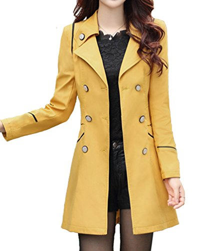 Helan Women's Slim Style With Bouble Line Buttons Trench Coat