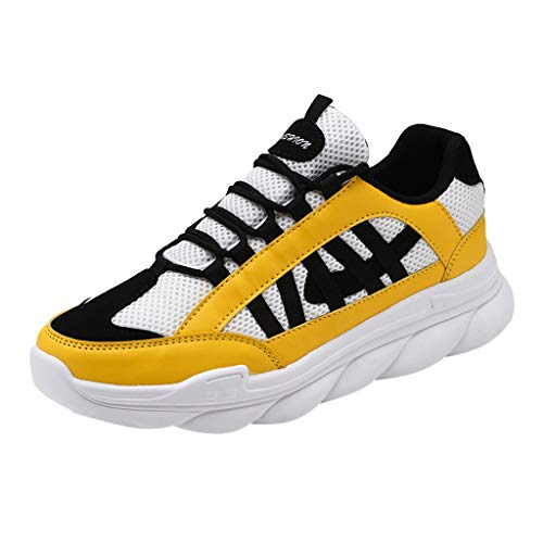 iHPH7 Trail Running Hiking Shoes,Running Barefoot Shoes,Sports Running Shoes,Mid Mesh Running Shoe,Volleyball Shoes,Bowling Shoes,Platform Sneakers (44,Yellow)