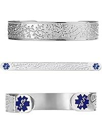 """Custom Engraved Filigree Olive 316L Medical Alert Bracelet -6"""" Cuff (fits 6.5-8.0"""")"""