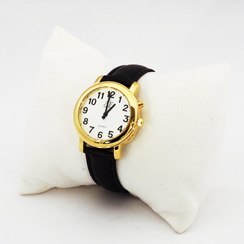 One-Button Talking Watch with Alarm - Gold w/White Face-Female-Leather Band Button Talking Watch Leather Band