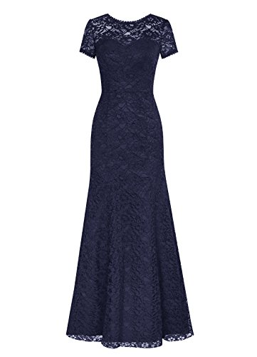 DRESSTELLS Long Lace Bridesmaid Dress Short Sleeved Evening Party Dress Navy Size 12