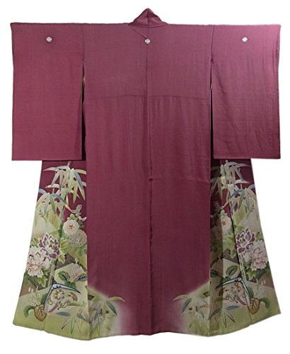 アンティーク 着物 色留袖 蛤文に笹や四季の花々 五つ紋 裄62cm 身丈147cm 正絹 袷