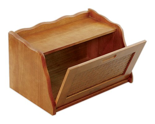 Mountain Woods Large Honey Oak Finish Wooden Bread Box & Storage Box w/Rattan Accented Lid