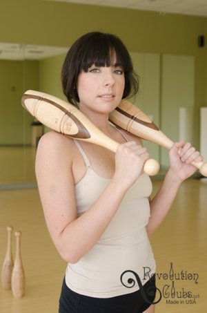 Indian Clubs Introduction Set - Two 1lb & Two 2lb Walnut & Maple Clubs with Training DVD by Revolution Clubs (Image #4)