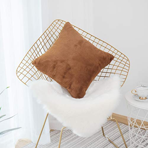 HOME BRILLIANT Plush Mongolian Faux Fur Suede Square Throw Pillow Cover Deluxe Fluffy Sheepskin Cushion Case Shell for Patio, Pillow Not Included, 1 Pc, 18 inch, Brown